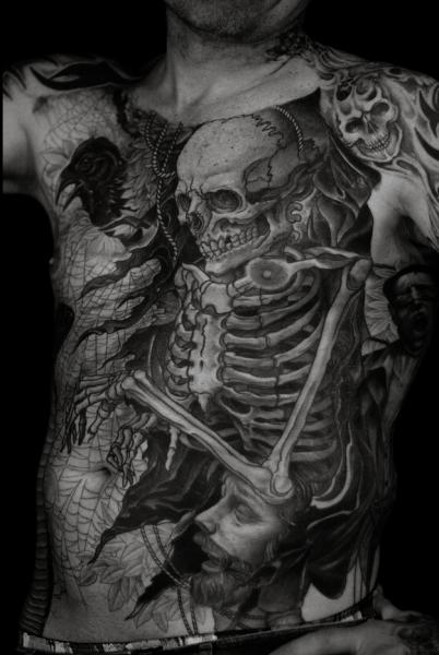 Chest Belly Skeleton Tattoo by RG74 tattoo
