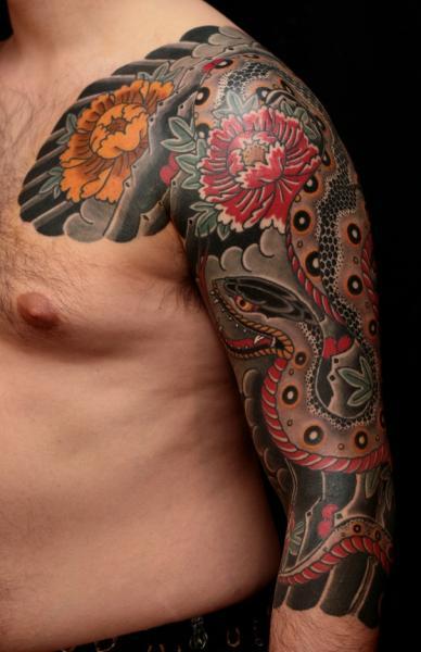 Shoulder Arm Snake Tattoo by RG74 tattoo