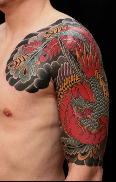 Tatuaggio Spalla Braccio Fenice di RG74 tattoo