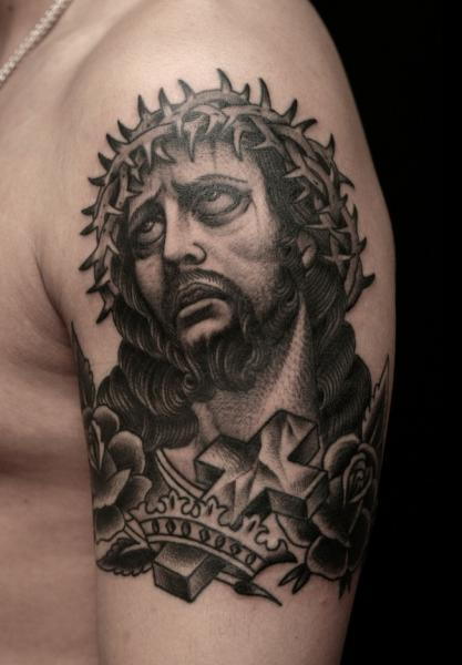 Shoulder Jesus Religious Tattoo by RG74 tattoo
