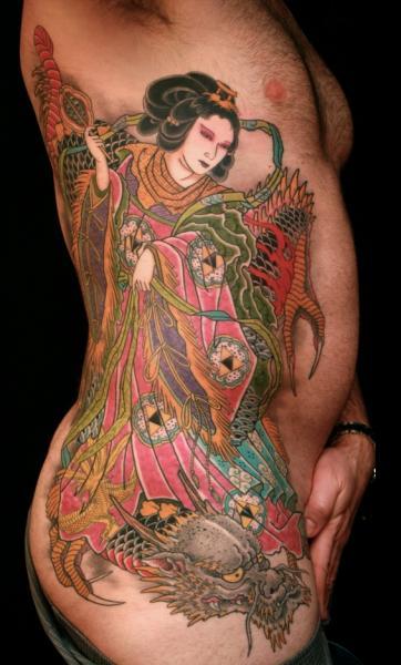 Side Japanese Dragon Geisha Tattoo by RG74 tattoo