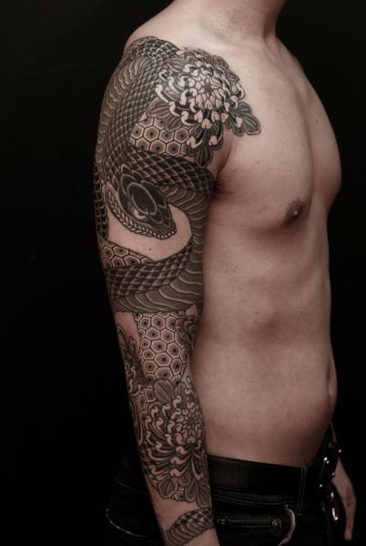 Snake Sleeve Tattoo by RG74 tattoo