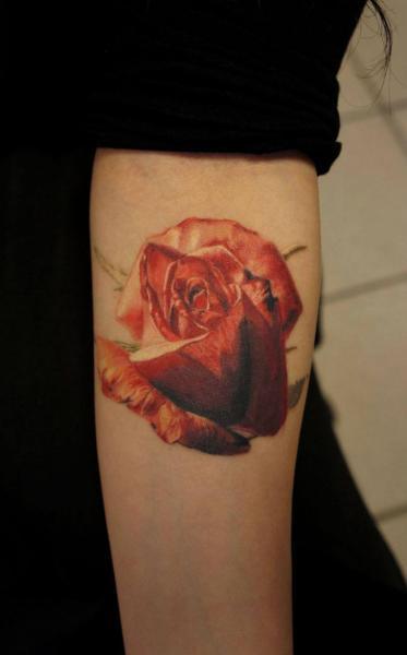 Arm Flower Rose Tattoo by Nikita Zarubin