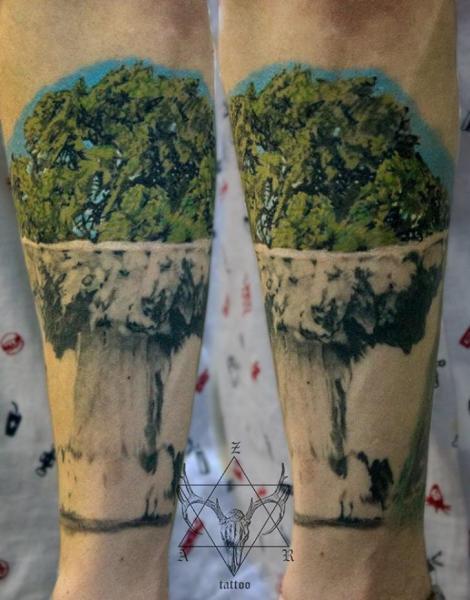 Arm Tree Bomb Tattoo by Nikita Zarubin