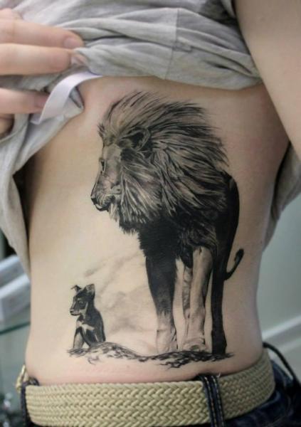 Realistic Side Lion Tattoo by Nikita Zarubin
