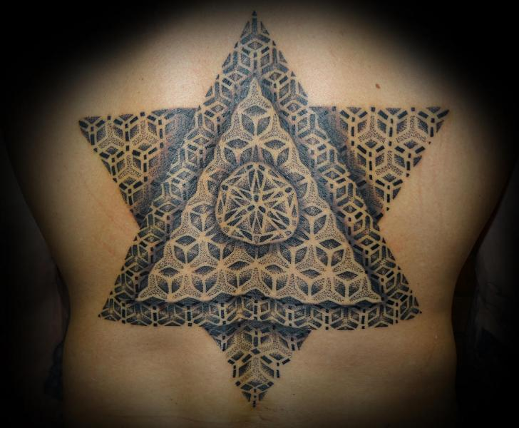 Back Dotwork Triangle Tattoo by Fade Fx Tattoo