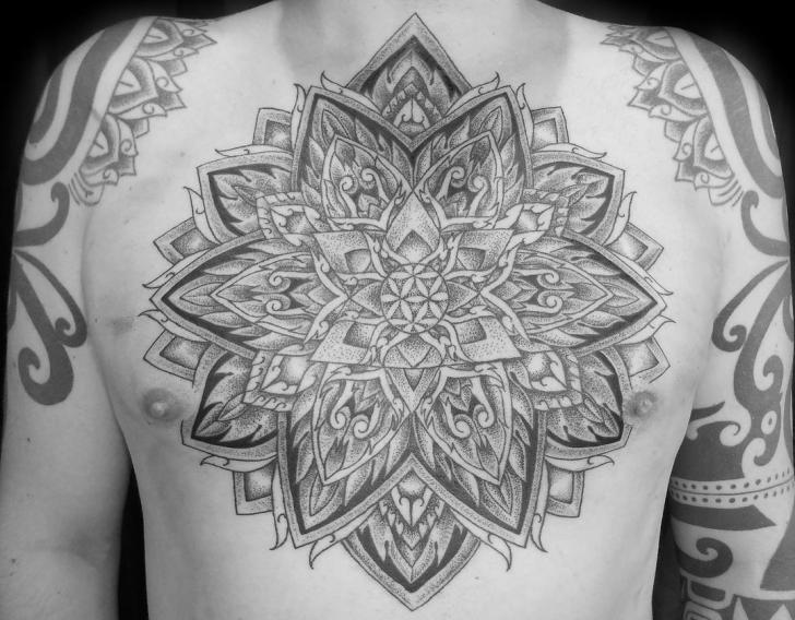 Chest Flower Belly Dotwork Tattoo by Fade Fx Tattoo