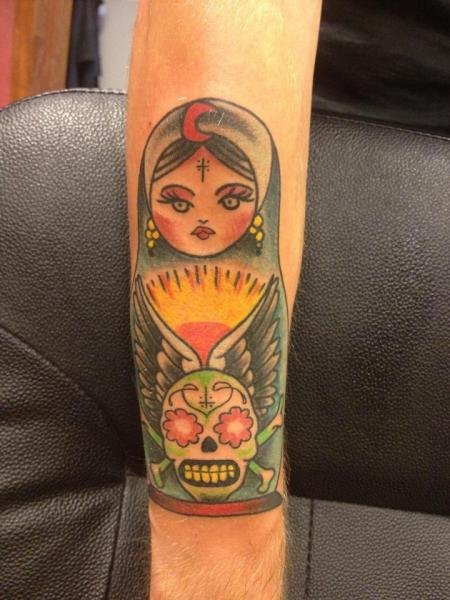 Arm Old School Matryoshka Tattoo by Amigo Ink