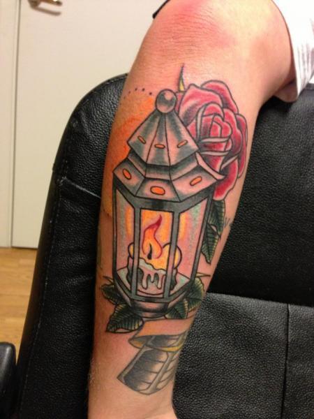 Old School Leg Lamp Tattoo by Amigo Ink