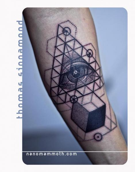 Arm God Geometric Triangle Tattoo by Thomas Sinnamond