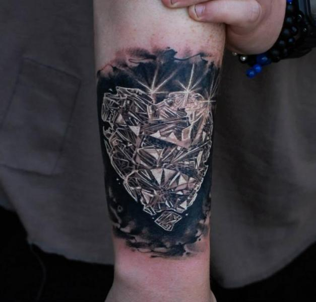 Arm Heart Diamond Tattoo by Matthew James