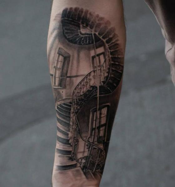 Tatuaje Brazo Realista Escalera Por Matthew James