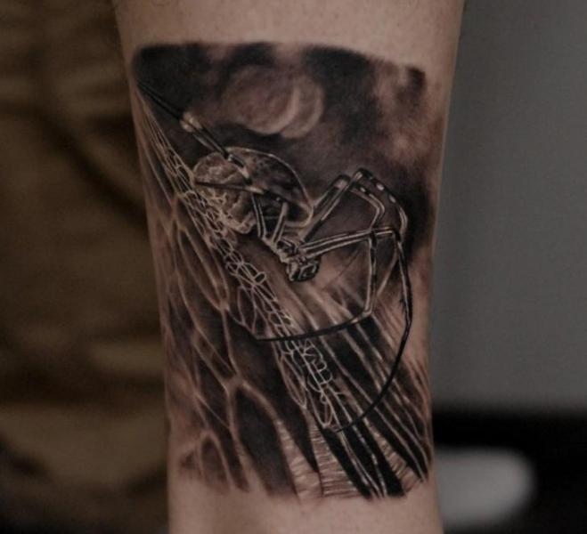 Arm Spider Tattoo by Matthew James
