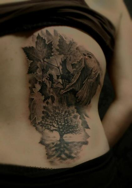 Realistic Back Bird Leaf Tattoo by Matthew James