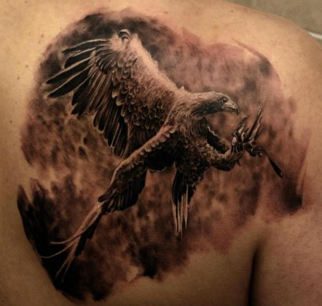 Realistic Back Eagle Tattoo by Matthew James