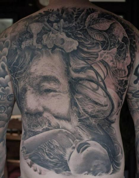 Portrait Realistic Back Tattoo by Matthew James