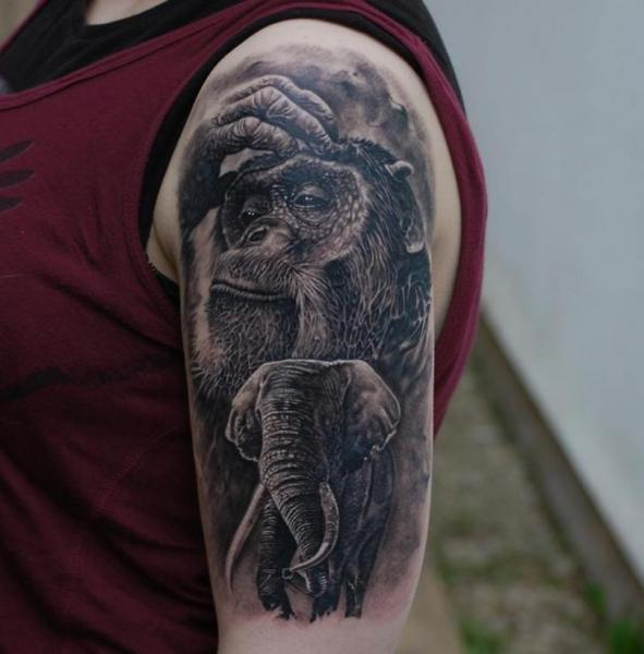 Shoulder Realistic Elephant Monkey Tattoo by Matthew James