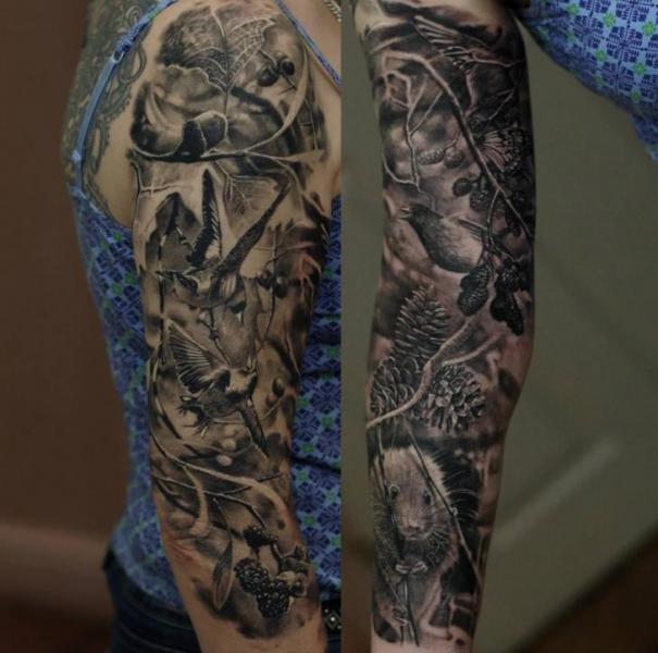 Realistic Sleeve Animal Tattoo by Matthew James