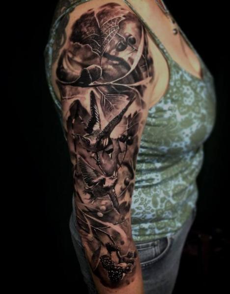 Realistic Bird Sleeve Tattoo by Matthew James