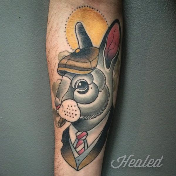 Arm Fantasy Rabbit Tattoo by Pat Whiting