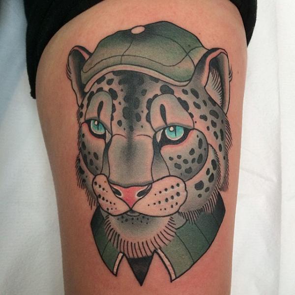 Tatouage Bras Tigre Chapeau Par Pat Whiting