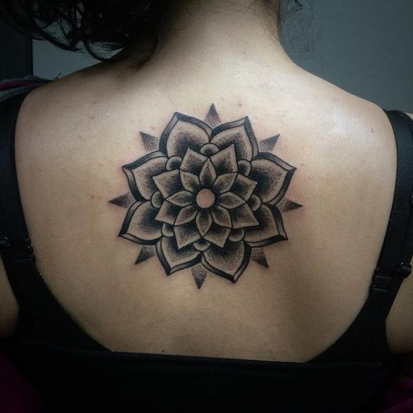 Flower Back Dotwork Tattoo by Pat Whiting