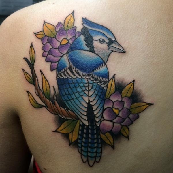 New School Back Bird Tattoo by Pat Whiting