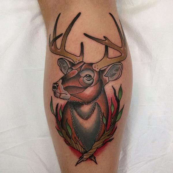 New School Calf Deer Tattoo by Pat Whiting
