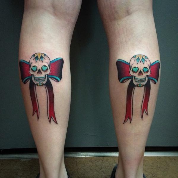 Calf Skull Ribbon Tattoo by Pat Whiting