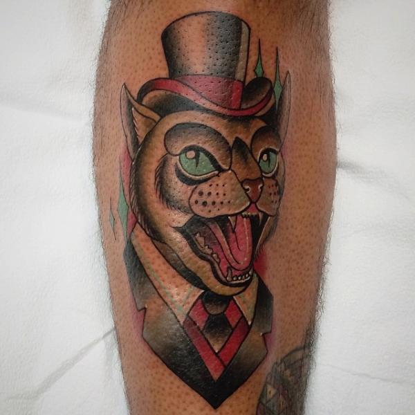 New School Leg Cat Tattoo by Pat Whiting