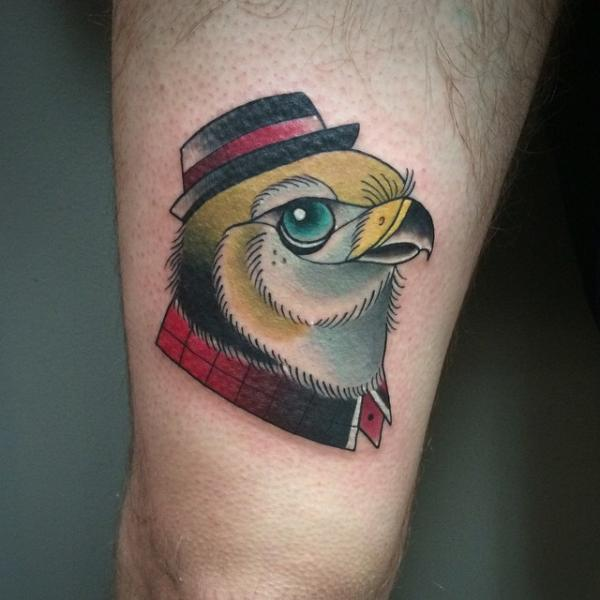 New School Eagle Thigh Hat Tattoo by Pat Whiting