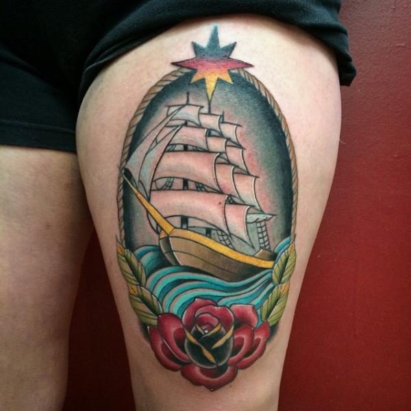 New School Flower Galleon Thigh Tattoo by Pat Whiting