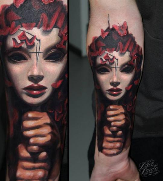 Arm Mask Tattoo by Dave Paulo
