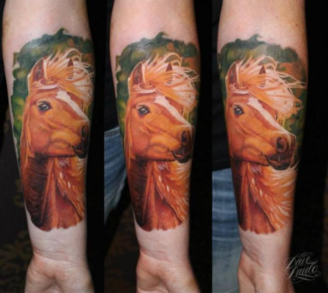 Arm Realistic Horse Tattoo by Dave Paulo
