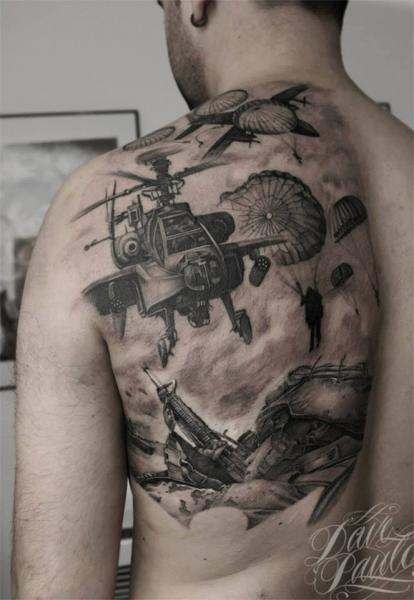 Back Helicopter Soldier War Tattoo by Dave Paulo