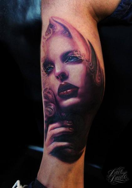 Portrait Calf Women Tattoo by Dave Paulo
