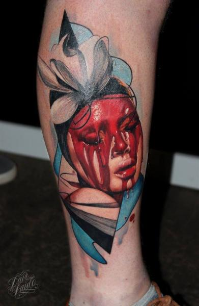 Calf Blood Woman Tattoo by Dave Paulo
