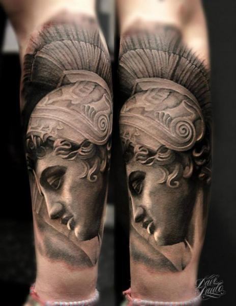 Realistic Leg Statue Tattoo by Dave Paulo