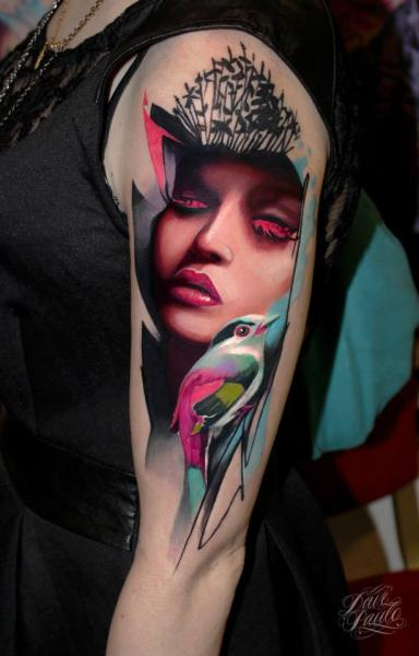 Shoulder Arm Bird Woman Tattoo by Dave Paulo