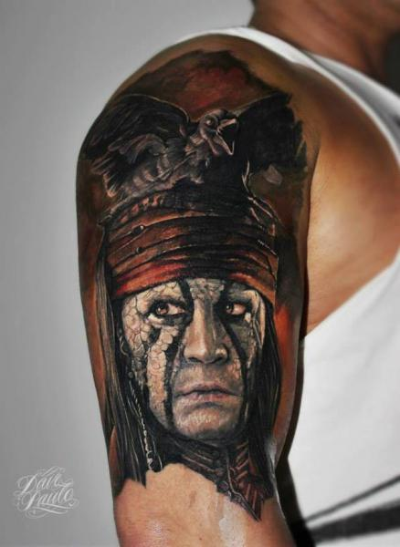 Shoulder Portrait Tattoo by Dave Paulo