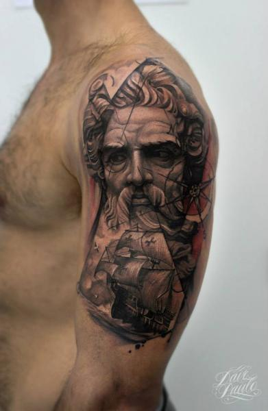 Shoulder Galleon Compass Statue Tattoo by Dave Paulo