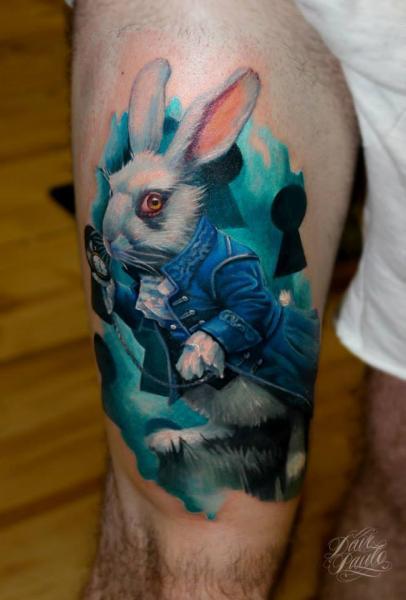 Hase Alice Im Wunderland Oberschenkel Tattoo von Dave Paulo