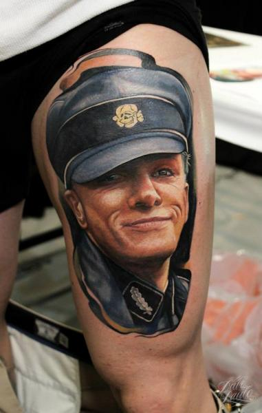 Portrait Realistic Thigh Hat Tattoo by Dave Paulo