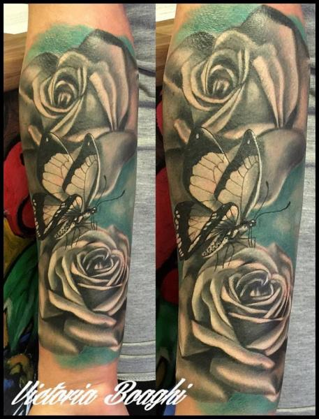 Arm Flower Butterfly Tattoo by Victoria Boaghi