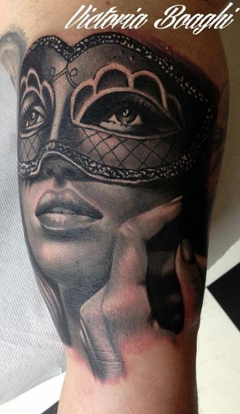 Arm Women Mask Tattoo by Victoria Boaghi