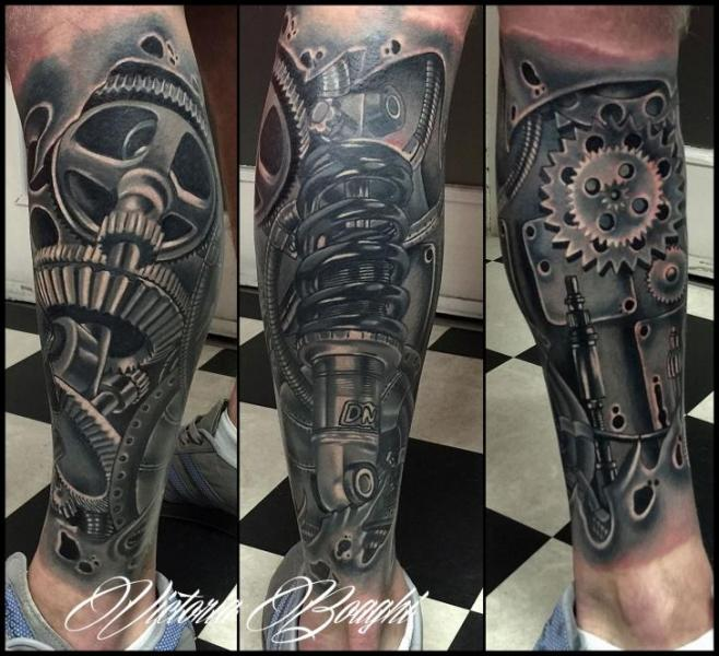 Biomechanical Gear Calf Tattoo By Victoria Boaghi
