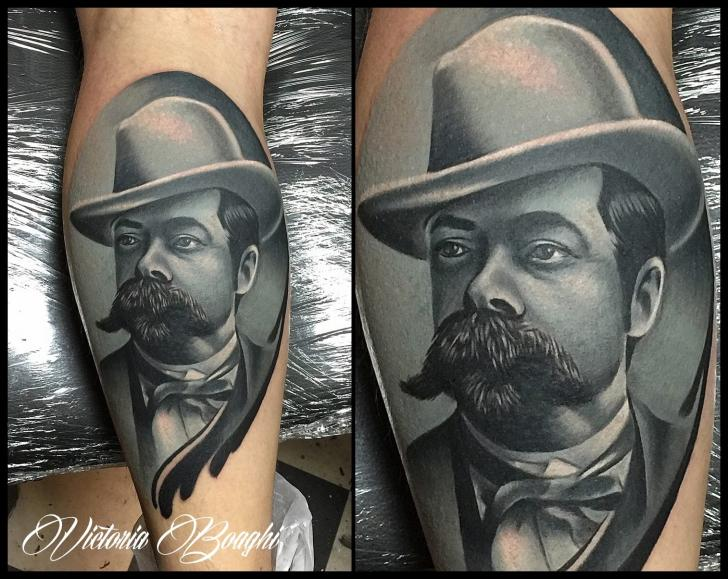 Portrait Realistic Calf Tattoo by Victoria Boaghi