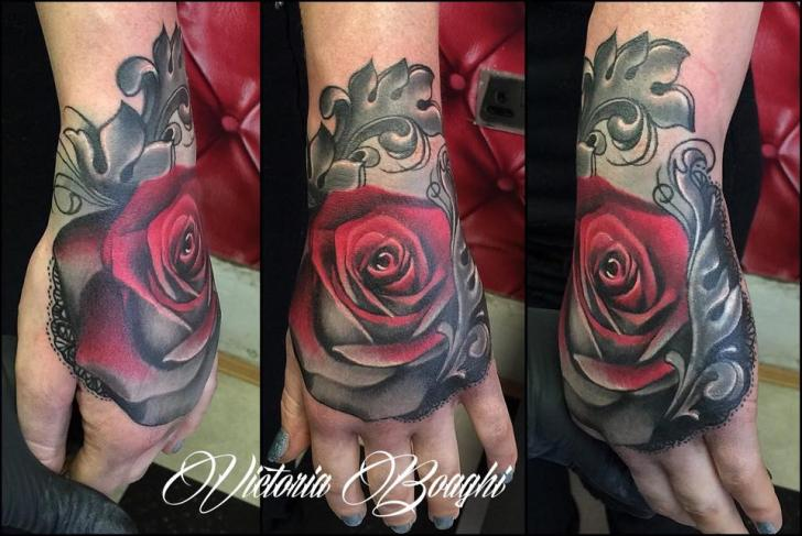 Flower Hand Rose Tattoo by Victoria Boaghi