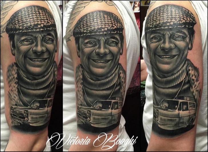 Shoulder Arm Portrait Realistic Car Tattoo by Victoria Boaghi
