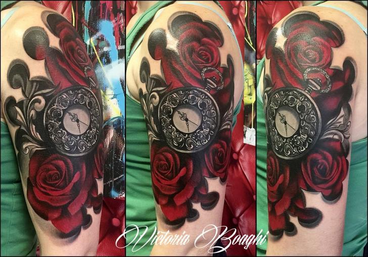 Shoulder Clock Flower Tattoo by Victoria Boaghi